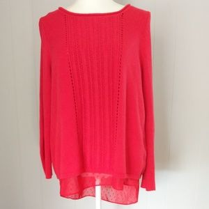 Lucky Brand Red Knit Top Size Large